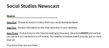 Digital Video Project - Social Studies Newscast with Rubric!