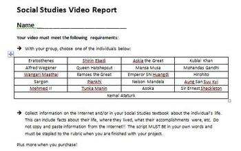 Digital Video Project - Social Studies Video Report with Rubric!