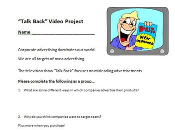 Digital Video Project - Talk Back to Teen Marketing with Rubric!