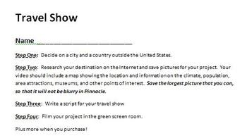 Digital Video Project - Travel Show with Rubric!