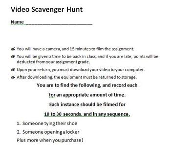 Digital Video Project - Video Scavenger Hunt with Rubric!