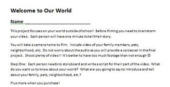 Digital Video Project - Welcome to Our World with Rubric!