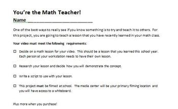 Digital Video Project - You're the Math Teacher with Rubric!