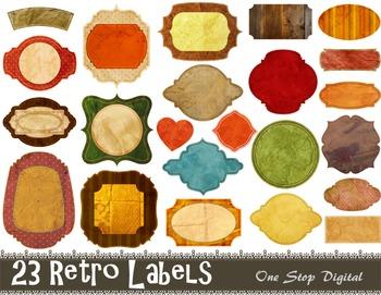 Digital Vintage Frame Clip Art Digital Retro Labels Tags Frame Decor Element