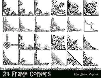 Digital Vintage Frame Corner Ornate Flourish Swirl Border Corner Frame Clip Art