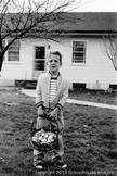 Digital Vintage Image young boy Easter egg hunt with basket