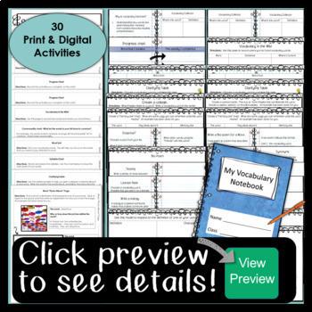 Digital Vocabulary Interactive Notebook {Google Drive & One Drive}