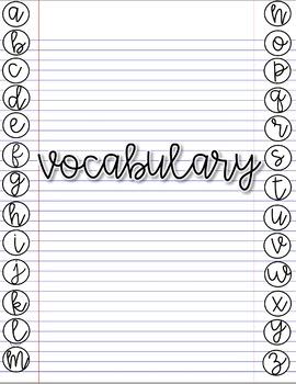 Digital Vocabulary Notebook *Google Drive* Any Subect