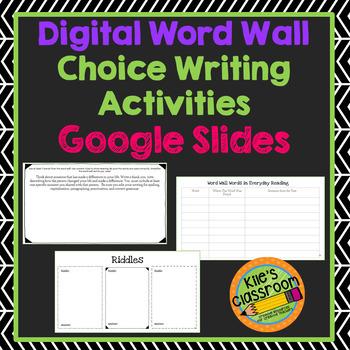 Digital Vocabulary Writing Activities - Student Choice - Google Slides