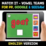 Digital Vowel Team Word Work for Google and Seesaw 2 - Dis