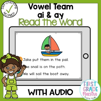 Digital Vowel Team ai and ay Read the Word Boom Card