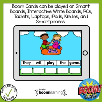 Digital Vowel Team ai and ay Sentence Scrambles Boom Cards