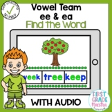 Boom Cards Vowel Team ee and ea Find the Word