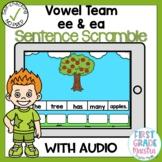 Boom Cards Vowel Team EE and EA Sentence Scrambles