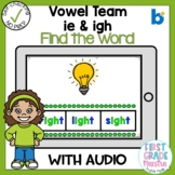 Boom Cards Vowel Team IE and IGH Find the Word