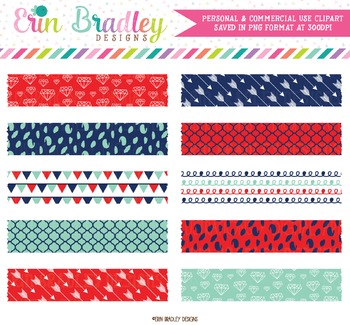 Digital Washi Tape Clipart - Blue Red Aqua
