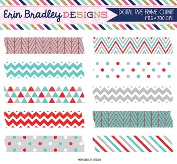 Digital Washi Tape Clipart - Blue Red & Gray