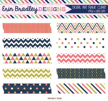 Digital Washi Tape Clipart - Coral Navy Blue & Gold