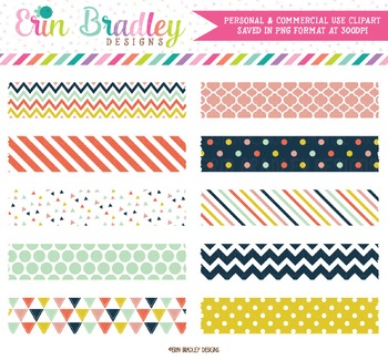 Digital Washi Tape Clipart - Craft Party Collection