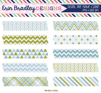 Digital Washi Tape Clipart - Olive and Blue