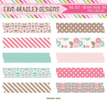 Digital Washi Tape Clipart - Pink Blue & Brown