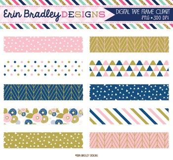 Digital Washi Tape Clipart - Pink Blue Gold