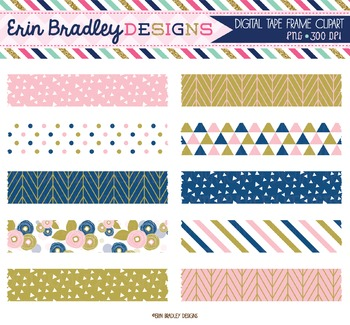 Digital Washi Tape Clipart - Pink Blue Gold