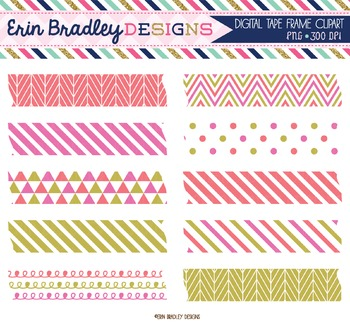 Digital Washi Tape Clipart - Pink Coral & Gold
