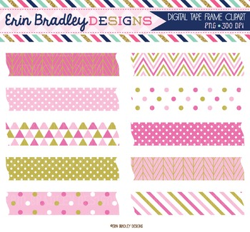 Digital Washi Tape Clipart - Pink & Gold