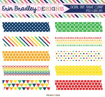 Digital Washi Tape Clipart - Primary Colors