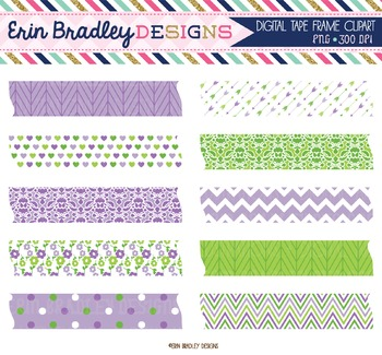 Digital Washi Tape Clipart - Purple & Green