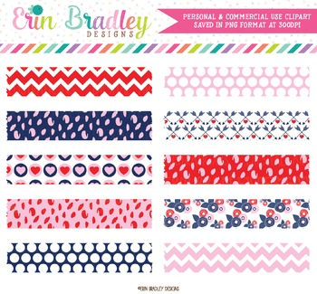 Digital Washi Tape Clipart - Red Pink Navy Blue