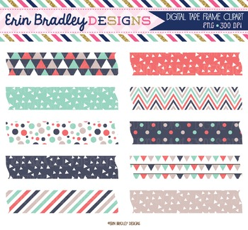 Digital Washi Tape Clipart - Triangles Collection