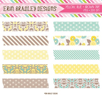 Digital Washi Tape Clipart - Yellow Blue & Brown