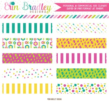 Digital Washi Tape Clipart in Teal Magenta Green & Yellow
