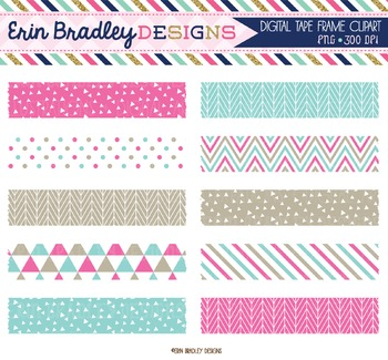 Digital Washi Tape - Pink and Blue