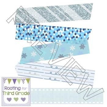 Digital Washi Tape Set of 10 - Winter