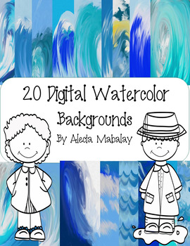 Digital Watercolor Backgrounds: Waves
