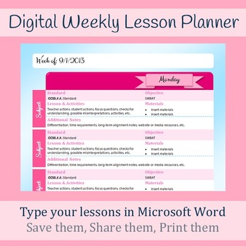 Digital Weekly Lesson Plan Template Microsoft Word Printable - Lesson plan templates word
