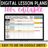 Digital Weekly Lesson Plan Templates {Google Sheets}