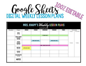 Digital Weekly Lesson Plans Using GOOGLE DRIVE (Editable)
