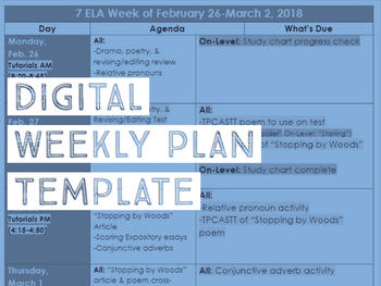 Digital Weekly Plan Template