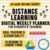 Digital Weekly Planner & Distance Learning Goals for Students & Teachers