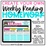 Digital Weekly Reading Homework | Google Slides Reading Lo