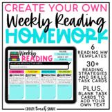 Digital Weekly Reading Homework | Google Slides Reading Lo