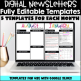 Digital Weekly and Monthly Newsletter Templates for Google Slides