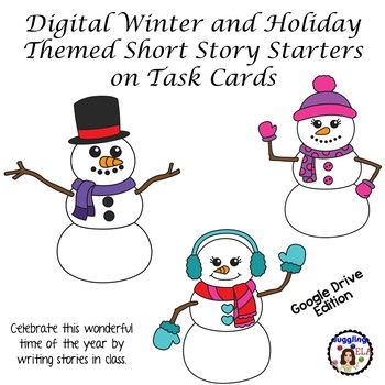Digital Winter and Holiday Themed Short Story Starters  on Task Cards