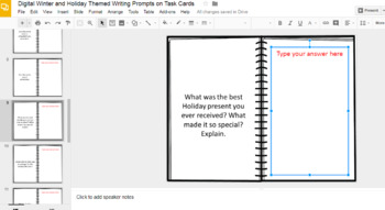 Digital Winter and Holiday Themed Writing Prompts on Task Cards (Google Drive)