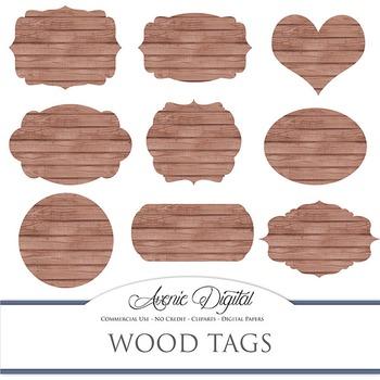 Digital Wood tags. Scrapbooking printables, rustic frames labels clipart