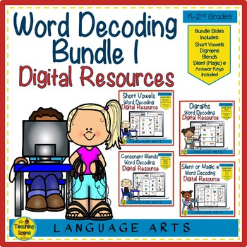 Digital Google Slides Word Decoding Bundle 1:Vowels, Digraphs, Blends & Silent e